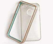 iPhone 4 / 4S Case Transparent & Bumper in Silber (Blau) Backcover 2 Teilig