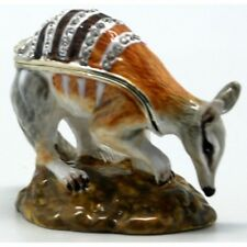 Numbat Trinket Jellewery Box, Enamalled & Silver Plated With Crystals Figurine