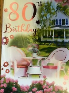 80th birthday card by Gold line