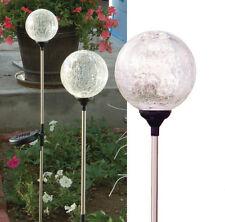 """Set of 3 Crackle Clear Glass 3.5"""" Ball, Solar Color Change landscape LED lights"""
