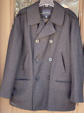 Nautica Pea Coat Black Wool Blend Double Breasted Men's Size XXL Anchor Buttons