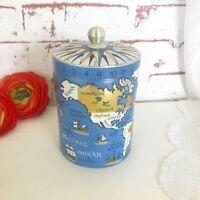 Antique Old World Globe Map Tea Tin Litho Box, Mercator Canister Vintage kitchen