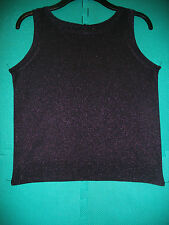 Ladies Size 14 New Aubergine Sparkly Knitted Sleeveless Top by Pied a Terre