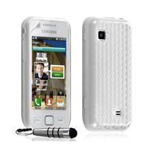Housse coque gel damier transparent Samsung Wave 575 S5750 couleur blanc