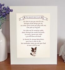 Border Collie (Red/Brown) Free Standing Thank You Poem Novelty Gift FROM THE DOG