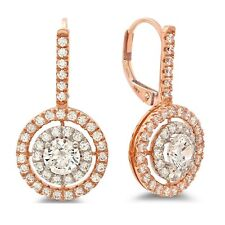 2.2ct Round Cut Drop Dongle Leverback Halo Designer Earrings 14k Two-Tone Gold