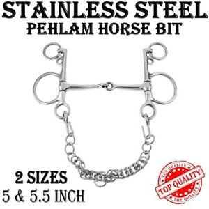 PELHAM HORSE BITS STAINLESS STEEL SMALL CHAIN SNAFFLE MOUTH BIT 5 & 5.5, NEW