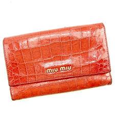 Auth Miu Miu tri fold Wallet Crocodile embossed ladies used J18903