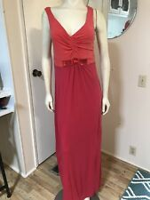Boden Sleeveless Coral/Red Stretch Jersey Maxi Dress With Beaded Empire Waist 10