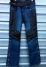 PARASUCO Black Leather Trim Buckle Zipper Boot Cut Denim Jeans 27