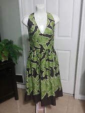 Liz Caliborne Green Brown Floral Cotton Halter Top Dress Size 8 WC642