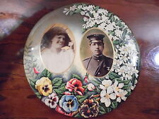 Mourning Plate Spanish American War 2nd US Cavalry Officer &Wife Photo Celluloid