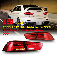 For 08-17 Mitsubishi Lancer EVO X LED Tail Lights Sequential Turn Signal Red Set