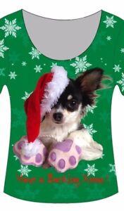 🎄Small Ladies CHIHUAHUA Dog Christmas T-Shirt  ( size 8,10 &12 )) 🎄
