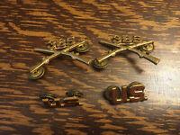 Pair WWII US Army 385th Infantry Regiment Officers Branch Collar Insignia PreWar
