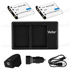 2X LI-42B Replacement Battery & USB Dual Charger +AC/DC for Olympus X600 730 800