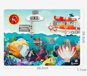 Busy Board Unlock Puzzle Seaworld Montessori Educational Toy AU STOCK