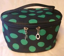 COSMETIC &TOILETRY CASE NAVY BLUE/ GREEN HEARTS