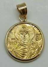New listing 22K Solid Gold Coin medal Mother of Christ Vlachernae Byzantine style Icon