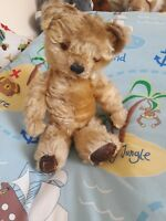 "Antique chad valley 17"" jointed mohair labelled teddy bear golden beige"