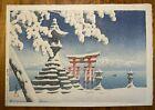 Kawase Hasui 'Itsukushima no Yuki' Woodblock with 6mm Watanabe Seal