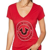 True Religion Women's Circle Horseshoe V-Neck Tee T-Shirt in Ruby Red