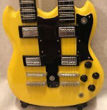 Miniature Replica Guitar Gibson Eds-1275 Double Neck Gold Sg Collectors Edition