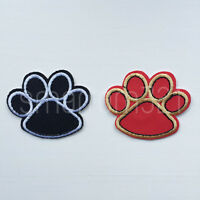 Red or Black PAW PRINTS Iron Sew On Patch Tshirt Transfer Motif Applique Badge