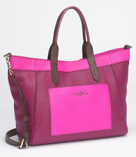 NWT COLE HAAN Crosby Colorblock Shopper Leather Crossbody Bag Winery/Orchid NEW