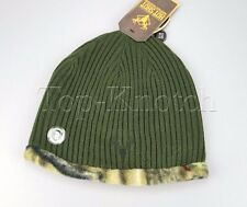 HOT SHOT Mens Reversible Beanie Cap Hat Rigid Army Green & Camo - One Size Fits