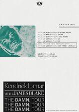 """KENDRICK LAMAR/JAMES BLAKE """"UK THE DAMN. TOUR 2018"""" CONCERT POSTER-Hip Hop Music"""