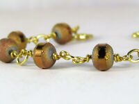 Metallic Copper Gold Crystal Beaded Gold Chain Link Bracelet USA HANDMADE OOAK