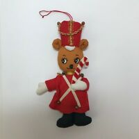 Vintage Fabric Christmas Ornament Bear Dressed as Soldier 6in Holiday Decoration