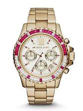 Michael Kors Everest Baguette Pink Crystal Bezel Bracelet GoldTone Watch, MK5871