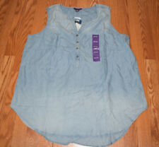 NWT Womens Terre Bleue Moon Wash Blue Denim Tunic Shirt Sleeveless Sz XL X-Large