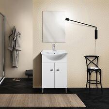 Mobile bagno salvaspazio 2 ante con piedini lavabo e specchio bianco laccato