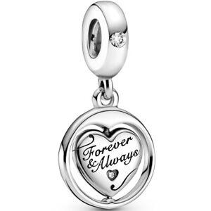Original PANDORA® Dangle Charm Element 799266 C01 Forever & Always Herzen Silber