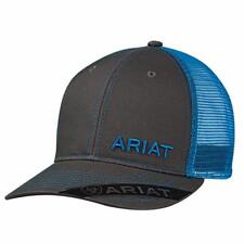 Ariat Mens Hat Baseball Cap Logo Mesh Snapback Grey Blue 1503527