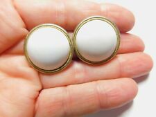 White Plastic Button Clip On Earrings Vintage
