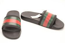 Gucci black green red 12 rubber striped open toe sandal slide UK11 shoe NEW $210