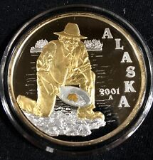 2001 SILVER PROOF-LIKE MEDALLION/ BULLION / COMMEMORATIVE:  GOLD RUSH CENTENNIAL
