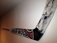Game-Used Goalie Hockey Stick Holder Display - WHITE
