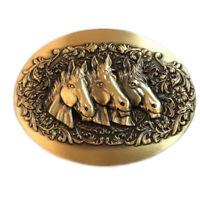 3 Horse Head Western Cowboy Solid Brass Copper Mens Belt Buckle Vintage