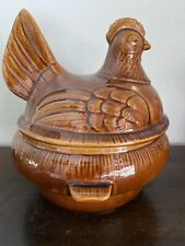 Vintage California USA C-40 Pottery ~ Brown ~ Hen-on-Nest ~ 3 Quart Soup Tureen