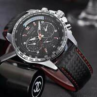Montre Sport Top Marque Bracelet cuir Homme Fashion Men Watch Promo