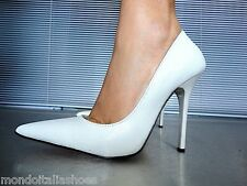 MORI MADE IN ITALY POINTY PUMPS SCHUHE PYTHON LEATHER DECOLTE WHITE BIANCO 41