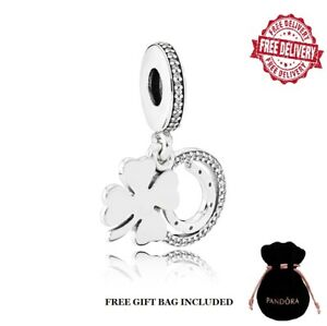 Pandora Genuine Lucky Four-Leaf Clover Dangle Charm S925 Sterling Silver NEW