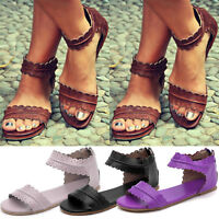 Womens Flats Zip up Gladiator Sandals Summer Holiday Casual Comfort Shoes Size