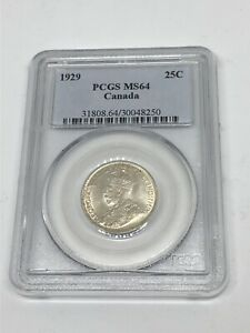 1929 Canada 🇨🇦 25 C CENTS SILVER Coin KING GEORGE PCGS MS 64 - *!RARE!*