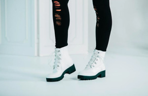 NEW Boutique Brand Faux Vegan White Patent Leather Lace Up Ankle Combat Boots